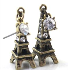 EIFFEL TOWER PARIS Bronze Earrings Bohemian Vintage Look Crystal Accents NEW