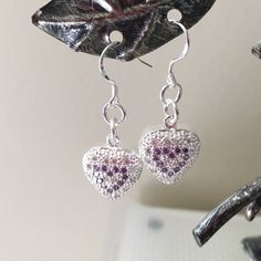 925 Sterling Silver Heart Earrings. 925 Silver heart earrings with white and purple bright crystals. Jewelry Earrings