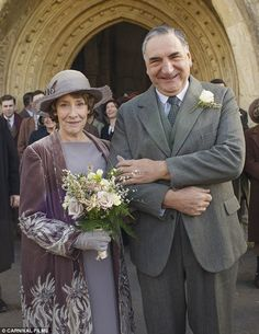 Wedded bliss: Viewers witnessed warm-hearted Mrs Hughes marry pompous but gentle butler Ca...