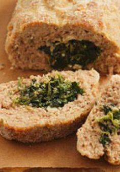 Pork Meatloaf Stuffed with Spinach and Feta – It's pretty impressive when this pork meatloaf is sliced open to reveal a stuffing of chopped spinach and feta. But really? The recipe is a cinch to make!