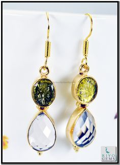 Pearl Green Onyx Gemstones 18k Gold Plating Earrings L 1.5in Gpemul-5254 http://www.riyogems.com
