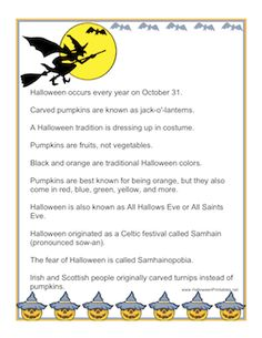 This sheet features ten fun facts about Halloween that you may not know. Free to download and print