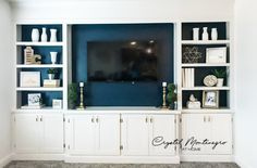 Built In Wall Units, Built In Shelves Living Room, Tv Built In, Living Room Wall Units, Living Room Cabinets, Built In Bookcase, Tv Cabinets, Built In Tv Cabinet, Painted Built Ins
