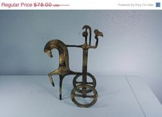 5 DAY SALE Athena on Horse & Chariot  Brass/ Bronze  Free Shipping by andantiques, $66.30