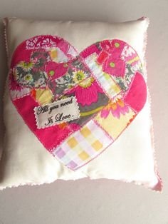 Happy Pillow Valentine's Day Pillow Patchwork Pillow by Itsewbella