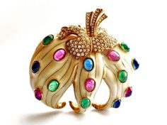 CINER Massive Enamel Brooch Gold Tone with by tangerinevintage, $195.00
