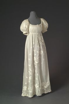 1805 embroidered white work on white cotton regency gown