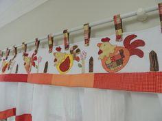 Cortina De Cozinha Galinha Patchwork