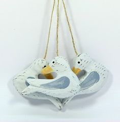 Hanging decoration; set of 3 carved wooden seagulls, seaside theme | eBay