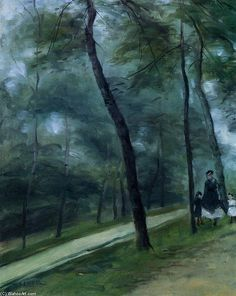 Pierre-Auguste Renoir >> A Walk in the Woods (aka Madame Lecoeur and Her Children)