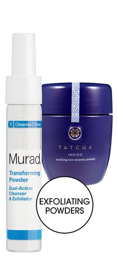 A quick boost for dull skin, exfoliating powders consist of extremely fine grains that activate on contact with a liquid. Formulated for acne-prone complexions, MURAD Transforming Powder Dual-Action Cleanser & Exfoliator contains bio-enzymes that dissolve dead skin cells and surface oil; geisha-inspired TATCHA Indigo Soothing Rice Enzyme Powder, which can be mixed with H2O or an oil, smooths with rice enzymes and soothes with oatmeal and indigo extracts.