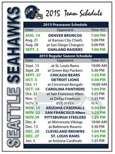 2015 Seattle Seahawks Football Schedule Magnet #Magnet