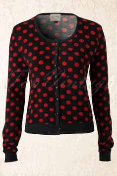 Banned - Vintage Polkadot Cardigan in Black and Red