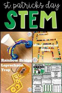 3 LOW PREP STEM Challenges that are perfect for St. Patrick's Day in March! Elementary students create a Rainbow Bridge, Wind-powered Maze, and Leprechaun Trap! Elementary STEM   Spring STEM