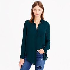 Classic silk blouse in your school color is great for game day style, especially when it starts getting chilly out
