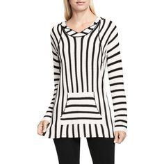 Two By Vince Camuto Seed Stitch Striped Hoodie ($99) ❤ liked on Polyvore featuring tops, hoodies, antique white, sweatshirt hoodies, striped hooded sweatshirt, striped pullover hoodie, long sleeve tops and pullover hoodies