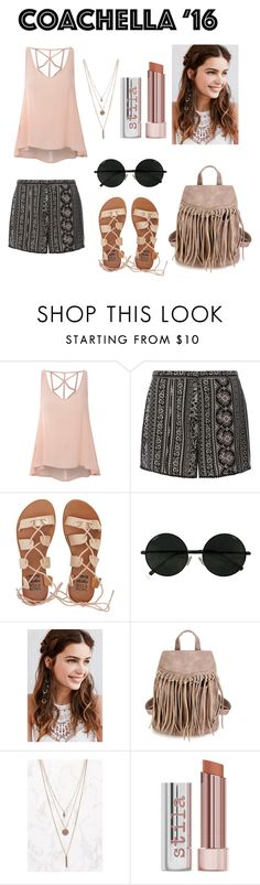 """""""Coachella '16"""" by amela-meredith ❤ liked on Polyvore featuring Glamorous, Dorothy Perkins, Billabong, REGALROSE and Stila"""