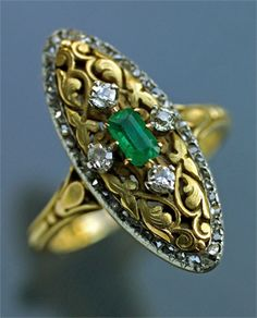 BELLE EPOQUE Ring Gold Silver Emerald Diamond H: cm in) W: cm in) Marks: Indistinct maker's mark French, I would wear this for a wedding ring (forget the engagement ring). This is much cooler than a plain boring diamond ring. Antique Rings, Vintage Rings, Antique Jewelry, Vintage Jewelry, Art Nouveau Ring, Art Nouveau Jewelry, Jewelry Rings, Jewelery, Bracelets