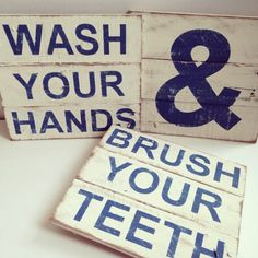 Bathroom sign Vintage Pallet Wood Signs Wash Your Hands and Brush Your Teeth by TheCreativePallet on Etsy