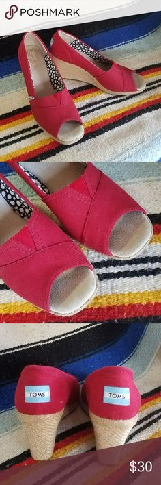 Toms Red Wedges Toms red canvas peeptoe wedge. Signs of normal wear. Good condition. Toms Shoes Espadrilles