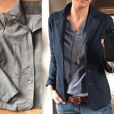 #ladygrace von @mialuna aus #denimsweat vom @stoffbuero - genäht im April 2016 bei #miraundfreunde - getragen: nie! War nicht mein grau, ich hab mich total blass gefühlt, obwohl ich grau liebe Gestern hardcore: versauen oder lieben!?! YEAH!!  Große Liebe: #blazer gefärbt mit #dylon #textilfarbe #jeansblue Die Steppnähte sind dank Baumwollgarn mitgefärbt, die Knopflöcher rot geblieben.  Habt ein schönes Wochenende  #prülla #manchmalmussmanwasriskieren #glückgehabt #diy #nähen ...