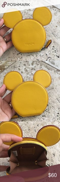"COACH  DISNEY X MICKEY MOUSE LEATHER EARS WALLET F59071 LMTD EDITON GLOVE CALF LEATHER Zip-around closure, fabric lining 4"" (L) x 3 3/4"" (H) x 3/4""(W) Disney x Coach Retail: $95.00.  New without tag. Coach Bags Wallets"