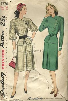 Vintage 1946 Suit Assymetrical Buttoned Jacket w by sydcam123, $16.00