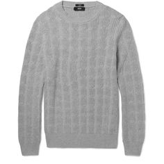 Hugo Boss Cable-Knit Cotton Sweater ($230) ❤ liked on Polyvore featuring men's fashion, men's clothing and men's sweaters