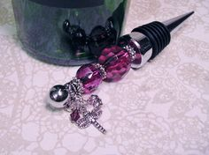 Wine Bottle Stopper Dragonfly Themed Deep Purple by JenniferSumner Rubber Rings, Wine Bottle Stoppers, Mild Soap, Cut Glass, Deep Purple, Glass Beads, Sparkle, Charmed, Antiques