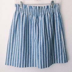 Striped J.Crew Skirt Blue and white striped j.crew paper bag skirt.  Size 6, in great condition J. Crew Skirts