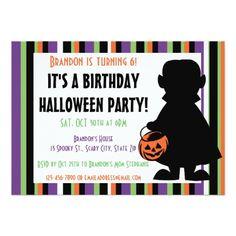 Vampire Birthday Invitations Kids Halloween Birthday Party Boy Vampire Card