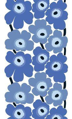 Marimekko Unikko Fabric Blue/White