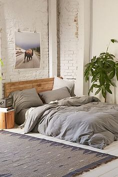 Heathered Grey Jersey Duvet Cover - Urban Outfitters