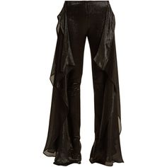 Paula Knorr Relief high-rise ruffled silk-blend lamé trousers (1'180 CHF) ❤ liked on Polyvore featuring pants, black, light weight pants, high waisted trousers, metallic pants, high rise pants and high-waisted pants