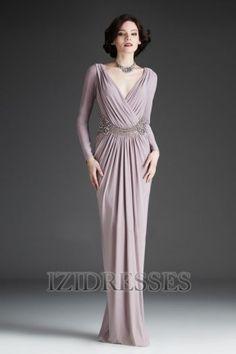 Sheath/Column V-neck Elastic Woven Satin Mother of the Bride - IZIDRESSES.com at IZIDRESSES.com