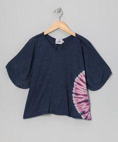 Navy & Pink Tie-Dye Cape-Sleeve Top - Girls #zulily #zulilyfinds