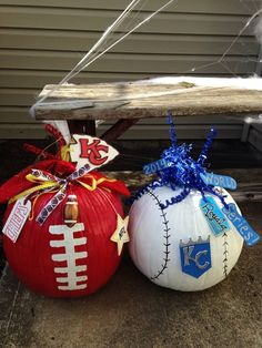 Kansas City Chiefs and Royals painted pumpkins Pumpkin Art, Pumpkin Carving, Pumpkin Ideas, Pumpkin Painting, Halloween Pumpkins, Halloween Crafts, Halloween Decorations, Halloween Stuff, Holidays Halloween