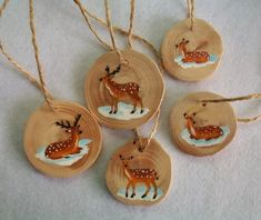 Christmas wood slice ornaments hand painted ornament set of 5 deer ornaments Handmade Christmas Crafts, Painted Christmas Ornaments, Wooden Ornaments, Hand Painted Ornaments, Christmas Wood, Christmas Deco, Homemade Christmas, Holiday Crafts, Wood Slice Crafts