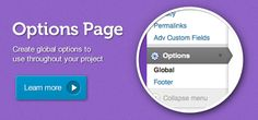 """ACF { Premium Add-on $25 AUD - Global Options have never been so easy  The """"options page"""" addon creates a new menu item called """"Options"""" which can hold advanced custom field groups (just like any other edit page). You can also register multiple options pages (view tutorial)."""
