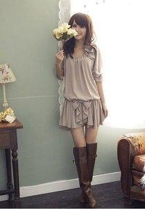 Fashion Sexy Mini  Ladies Korean Women chiffon short sleeve Grey bow dress