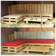 Before and after pallet sectional. Easy and cheap!