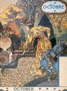 """Eugène Grasset Calendar """"La Belle Jardinière"""" 1896"""