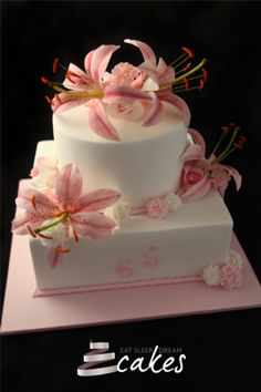 65th Birthday Cake with Oriental Lillies - Eat Sleep Dream Cakes. This ...