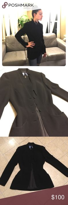 VINTAGE Thierry Mugler black tailored blazer This piece is beautifully tailored! Made in France! Very tiny waist but room for more of a bust if needed! Looks like 1990 something! Some shoulder pad action going on and a crazy cool collar detail! Size 38FR Thierry Mugler Jackets & Coats Blazers