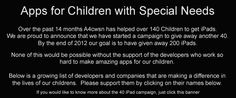 Apps are great tools for children with special needs!  A4cwsn is a special  website with educational information on  apps and gives away 100's of apps a year!  Check out the apps Social stories and Chore Pad!