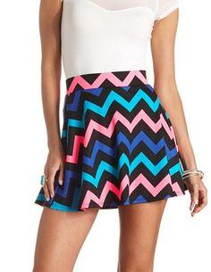 Neon Chevron High-Waisted Skater Skirt: Charlotte Russe