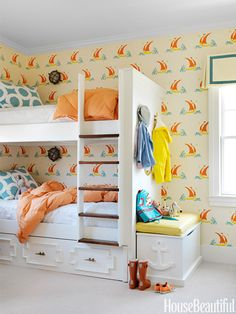 """In a New Jersey beach house decorated by Mona Ross Berman, Katie Ridder's Beetlecat wallpaper gives the boys' room a playful but """"not overly cute"""" feel.   - HouseBeautiful.com"""