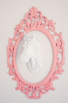 white faux taxidermy unicorn head: