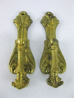 Lot of 2 Fancy Metal Drawer Cabinet Pulls Hollywood Regency French Country