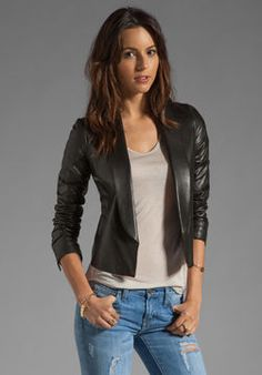 Vince Leather Shawl Collar Jacket on shopstyle.com